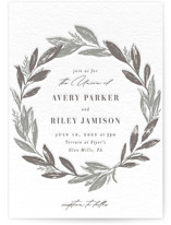 This is a grey letterpress wedding invitation by Everett Paper Goods called Woodland Wreath with letterpress printing on coventry320 in standard.