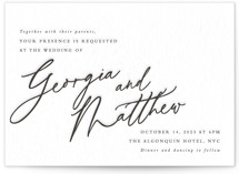 This is a black letterpress wedding invitation by Keen Peachy called Love Note with letterpress printing on somerset500 in standard.