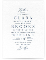 This is a blue letterpress wedding invitation by Amy Kross called Simple Page with letterpress printing on coventry320 in standard.