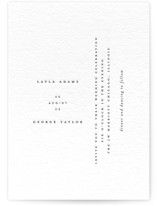 This is a black letterpress wedding invitation by Laura Hamm called Minimal with letterpress printing on coventry320 in standard.
