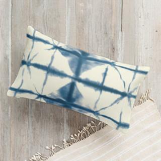 Hand-dyed Shibori Diamonds Lumbar Pillow