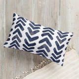 This is a blue pillow by Psychae called Indigo geometry printing on premium cotton.