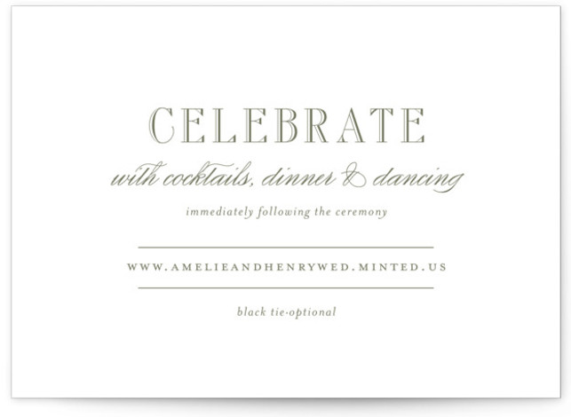 This is a landscape classical, elegant, formal, traditional, Reception Cards by Toast & Laurel called Hepburn with Letterpress printing on 100% Cotton in Card Flat Card format. A timeless & elegant save the date to set the tone for your ...