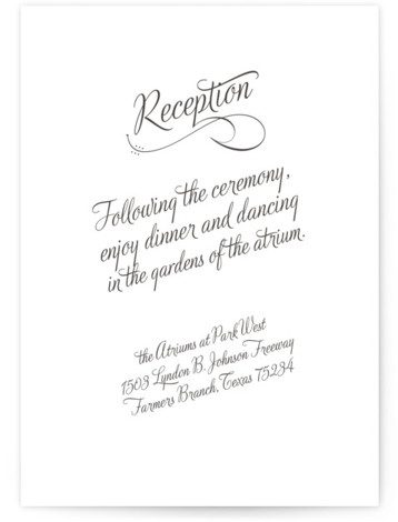 This is a portrait bold and typographic, classic and formal, simple and minimalist, blue Reception Cards by Ann Gardner called Just My Type with Letterpress printing on 100% Cotton in Card Flat Card format.