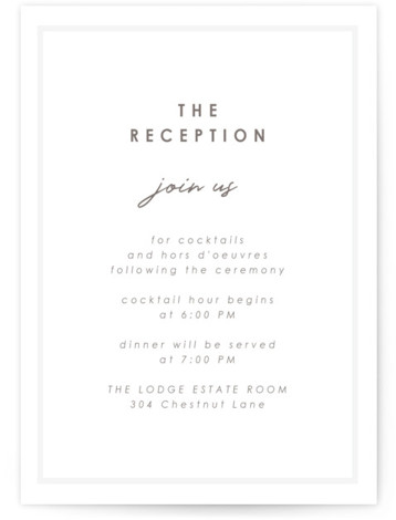 This is a bold and typographic, classic and formal, simple and minimalist, Reception Cards by AK Graphics called Cordially with Letterpress printing on 100% Cotton in Card Flat Card format. A simple, neutral minimalist letterpress wedding announcement.
