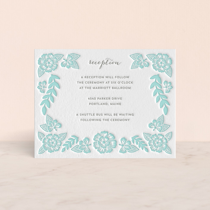 """Folk Floral"" - Floral & Botanical Letterpress Reception Cards in Sea by Katharine Watson."