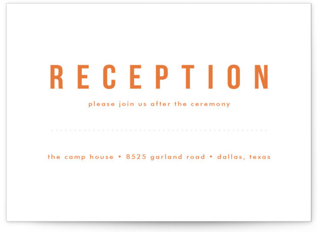 This is a landscape floral, geometric, orange Reception Cards by Susan Asbill called Mod Bloom with Letterpress printing on 100% Cotton in Card Flat Card format. This clean and minimalist design features modern botanicals in a subtle blind deboss.