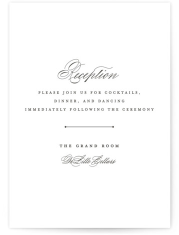 This is a bold and typographic, classic and formal, Reception Cards by Olivia Raufman called classic composition with Letterpress printing on 100% Cotton in Card Flat Card format. An elegant design featuring classic typography and understated flourishes.