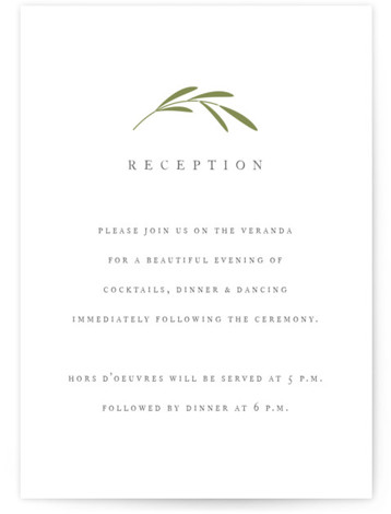 This is a botanical, simple and minimalist, Reception Cards by Jennifer Postorino called Wisp with Letterpress printing on 100% Cotton in Card Flat Card format. A classic wedding invitation featuring hand drawn sprigs and traditional type.