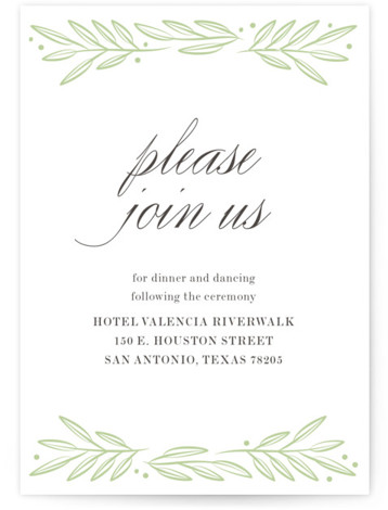 This is a botanical, Reception Cards by Ann Gardner called Botanical with Letterpress printing on 100% Cotton in Card Flat Card format. Leaves and berries encircle your wedding details on this letterpress invitation, featuring a beautiful script and classic type. ...
