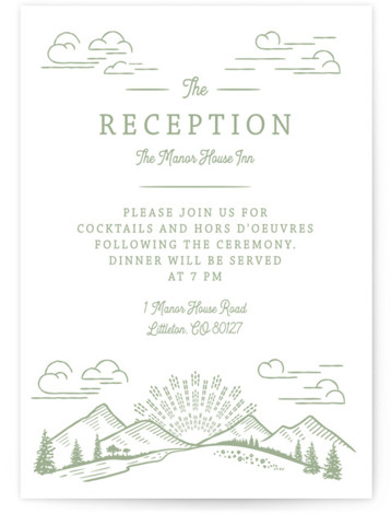 This is a botanical, illustrative, Reception Cards by Paper Sun Studio called On The Horizon with Letterpress printing on 100% Cotton in Card Flat Card format. A mountain range and prairie flowers are featured in this rustic wedding invitation.