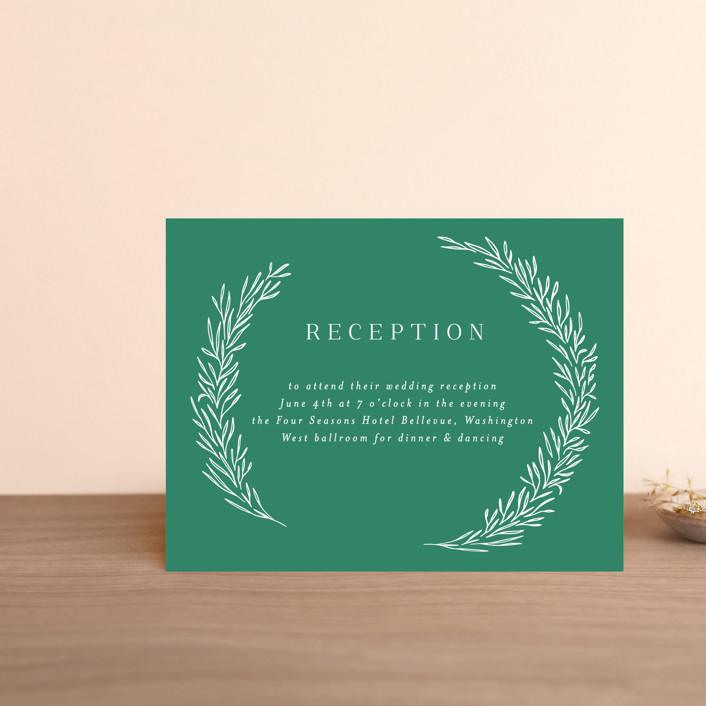 """Organic Laurels"" - Digital Reception Cards in Moss by Itsy Belle Studio."