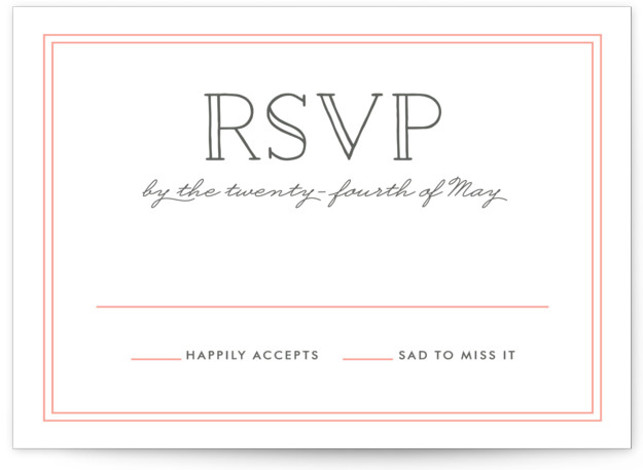 This is a landscape bold and typographic, simple, pink RSVP Cards by Hooray Creative called Inline Type with Letterpress printing on 100% Cotton in Card Flat Card format. Lovely, clean type.