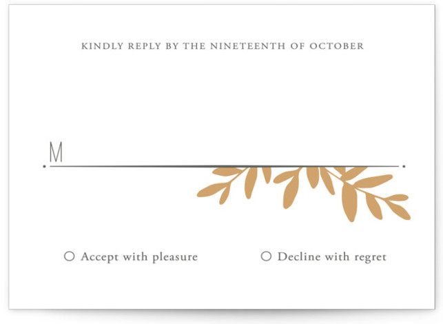 This is a landscape botanical, floral, rustic, gold RSVP Cards by Oscar & Emma called Boxwood Sprigs with Letterpress printing on 100% Cotton in Card Flat Card format. Clean and modern design with a nod to classic and nature.