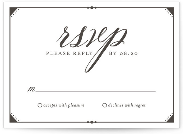 This is a landscape classic and formal, black RSVP Cards by carly reed walker called Fanciful Names with Letterpress printing on 100% Cotton in Card Flat Card format. A unique, simplified wedding invitation that highlights the most important parts and ...