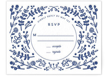 This is a blue rsvp card by Lori Wemple called Floral Frame Square Letterpress with letterpress printing on somerset500 in standard.