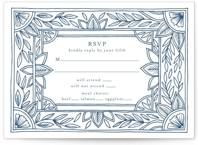 Handmade Ornate Frame Letterpress Rsvp Cards