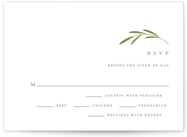This is a botanical, simple and minimalist, RSVP Cards by Jennifer Postorino called Wisp with Letterpress printing on 100% Cotton in Card Flat Card format. A classic wedding invitation featuring hand drawn sprigs and traditional type.