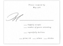 This is a black rsvp card by AK Graphics called Black Tie Option with letterpress printing on coventry320 in standard.