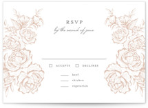 This is a rsvp card by Jennifer Postorino called In Bloom with letterpress printing on somerset500 in standard.