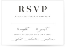 This is a rsvp card by Lauren Chism called Elegante with letterpress printing on somerset500 in standard.
