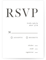 This is a rsvp card by Pixel and Hank called Trio with letterpress printing on somerset500 in standard.