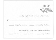 This is a grey rsvp card by Olivia Raufman called Just Lovely with letterpress printing on somerset500 in standard.