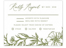 This is a green rsvp card by Grae called Eden with letterpress printing on somerset500 in standard.