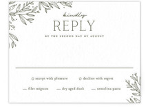 This is a green rsvp card by Oscar and Emma - Karly Depew called Beauty of Nature with letterpress printing on somerset500 in standard.