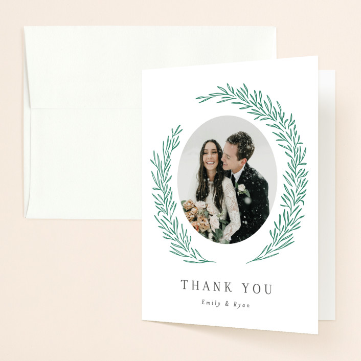 """""""Organic Laurels"""" - Digital Thank You Cards in Moss by Itsy Belle Studio."""