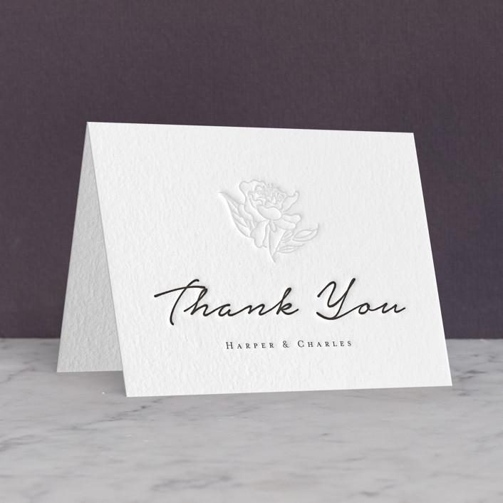 """""""my dearest"""" - Letterpress Thank You Cards in Soft Black   Blind Deboss by Qing Ji."""