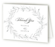 This is a silver wedding thank you card by Susan Moyal called Verdure Couronne with letterpress printing on coventry320 in standard.