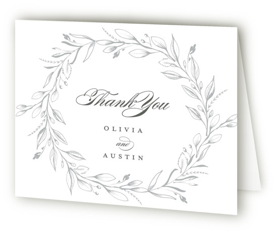 This is a botanical, Wedding Thank You Cards by Susan Moyal called Verdure Couronne with Letterpress printing on 100% Cotton in Card fold over (blank inside) format. This wedding invitation design features a crown of vines and leaves