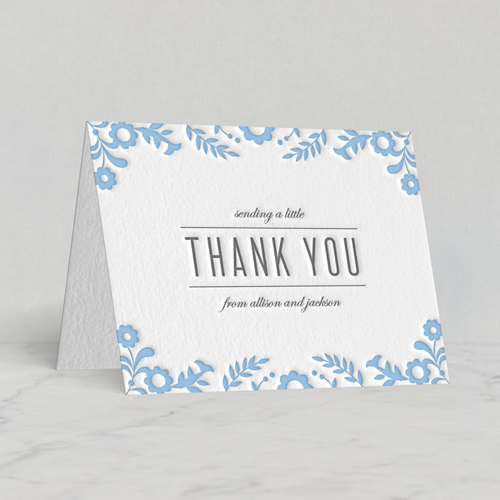 """""""Paper Flowers"""" - Letterpress Thank You Cards in Sky blue   Stone by Kristen Smith."""
