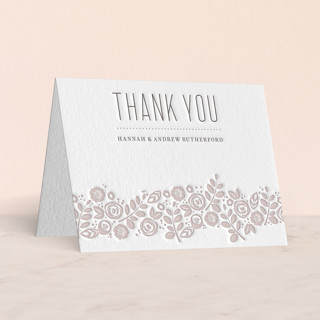 """White Shadows"" - Letterpress Thank You Cards in Warm Grey by Jessica Williams."