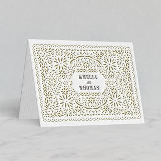 """""""Fiesta Folk Art"""" - Letterpress Thank You Cards in Warm Grey by root beer float."""