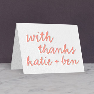 """Charm School"" - Letterpress Thank You Cards in Petal by The Social Type."