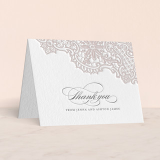 """White Lace"" - Vintage Letterpress Thank You Cards in Stone by Lauren Chism."