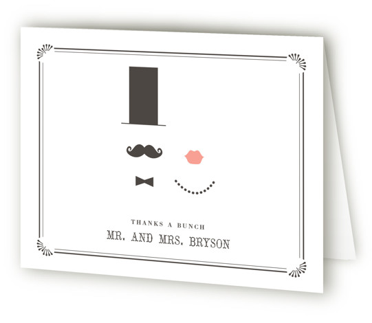 This is a landscape illustrative, offbeat, whimsical, black Wedding Thank You Cards by Penelope Poppy called Stache + Kiss with Letterpress printing on 100% Cotton in Card fold over (blank inside) format.