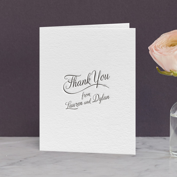 """""""Just My Type"""" - Letterpress Thank You Cards in Soft Black by Ann Gardner."""