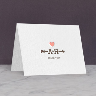"""Love Struck"" - Whimsical & Funny Letterpress Thank You Cards in Chocolate by The Social Type."