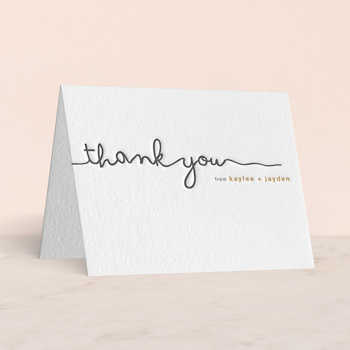 """""""The Happy Couple"""" - Letterpress Thank You Cards in Pewter 