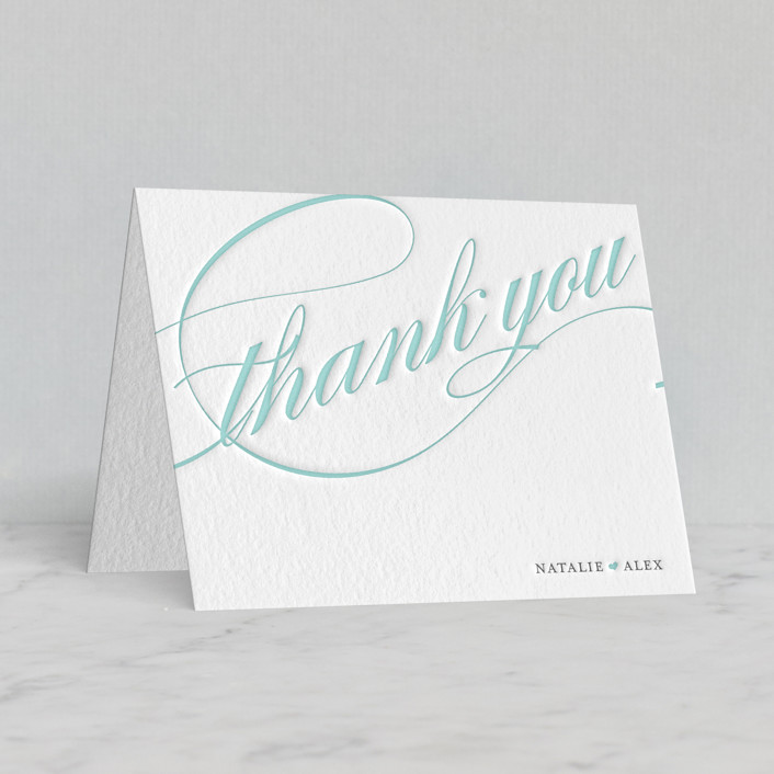 """Winter Flourish"" - Letterpress Thank You Cards in Gravel 