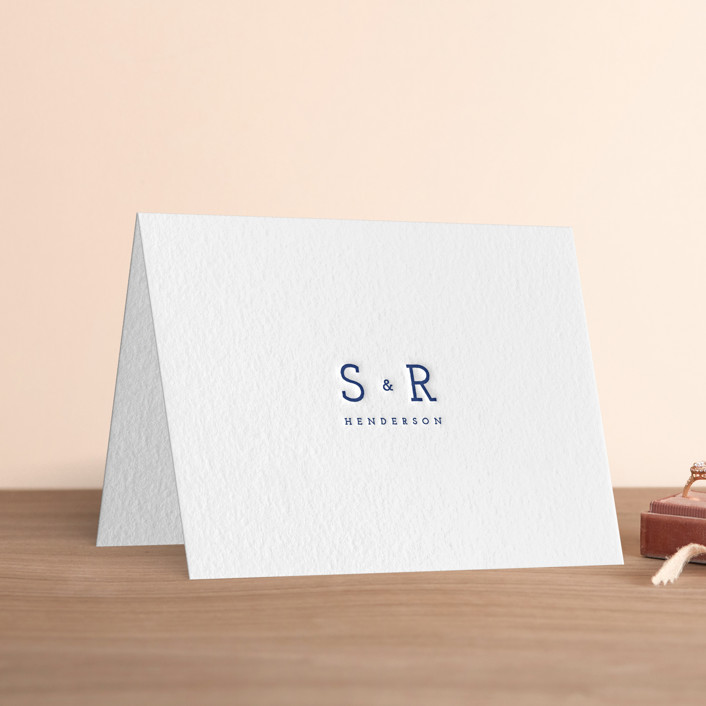 """""""Justified Type"""" - Simple, Simple Letterpress Thank You Cards in Lapis by WHALEN."""