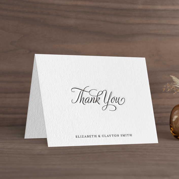 """""""Delicate Grace"""" - Traditional, Traditional Letterpress Thank You Cards in Soft Black by Olivia Raufman."""
