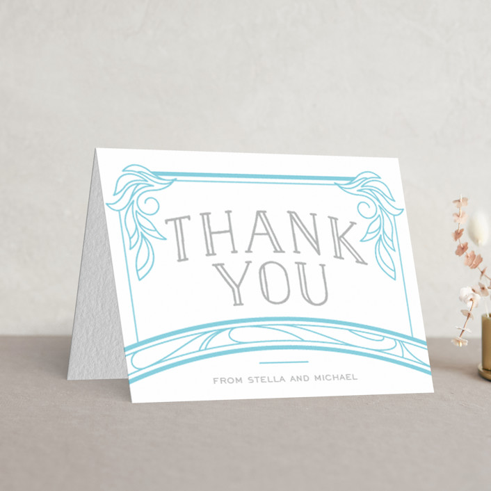 """""""Antique Press"""" - Bold typographic, Vintage Letterpress Thank You Cards in Matte Silver 