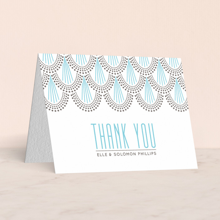 """Serene Jazz Age"" - Vintage, Vintage Letterpress Thank You Cards in Pool by Iron Range Artery."