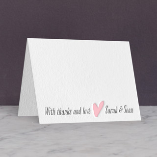 """Loved Ones"" - Modern Letterpress Thank You Cards in Classic Pink by Lizzy McGinn."