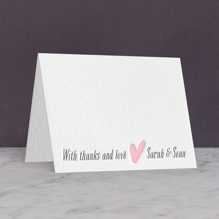 """""""Loved Ones"""" - Modern Letterpress Thank You Cards in Classic Pink by Lizzy McGinn."""