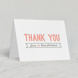 """Rustic Charm"" - Rustic Letterpress Thank You Cards in Petal by Hooray Creative."